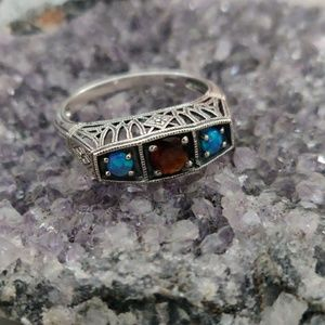 Opal and Garnet Sterling Silver Ring